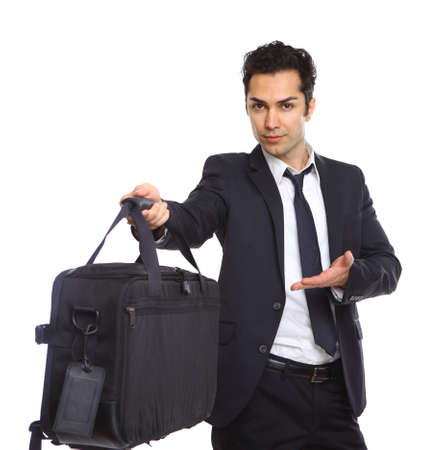 business man handing over a briefcase, isolated on white Stock Photo