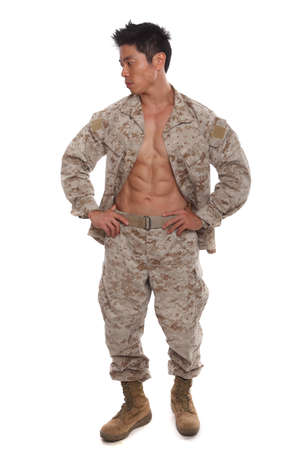 Sexy Asian Marine in Uniform showing his abs photo