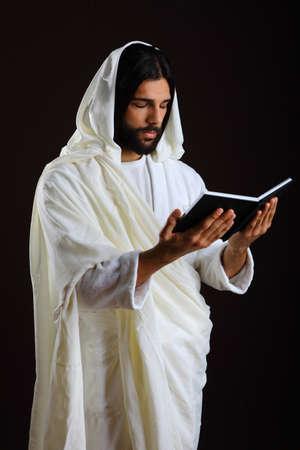 Jezus Christus van Nazareth het lezen van een gebed