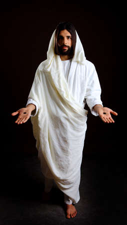 Jesus Christ of Nazareth welcoming with open arms and scars