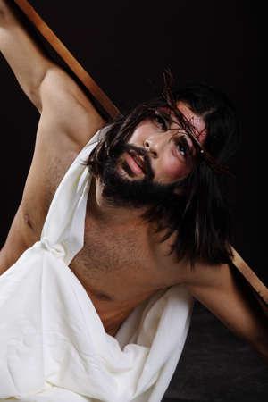 black jesus: Jesus Christ Close up looking up towards heaven Stock Photo