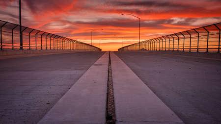 open road: Sunset on open road