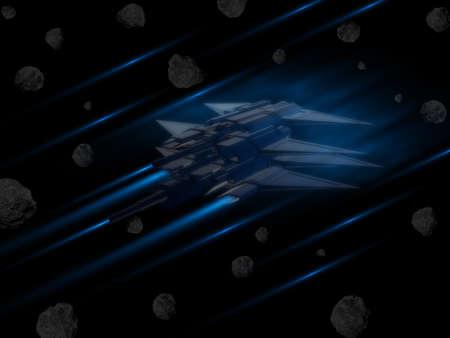 宇宙船小惑星を通して戦いで 写真素材 - 33288487