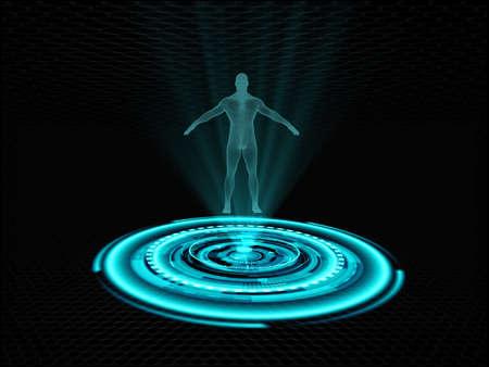 未来的なプロジェクターを発表した人間のホログラム