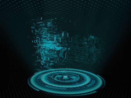 車のエンジンのホログラム 写真素材 - 53447366