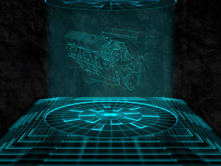 projection: Projection of car engine Stock Photo