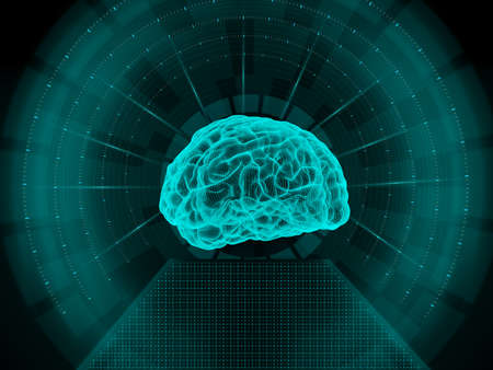 brain illustration: Human brain scan Stock Photo