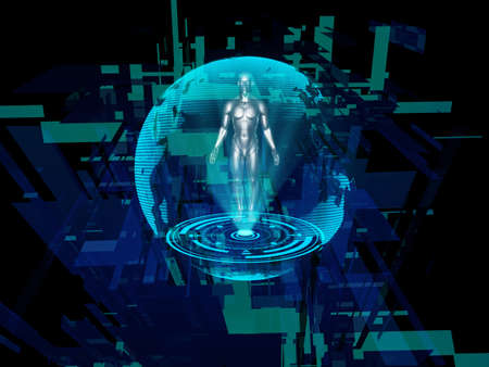 Human hologram against abstract background