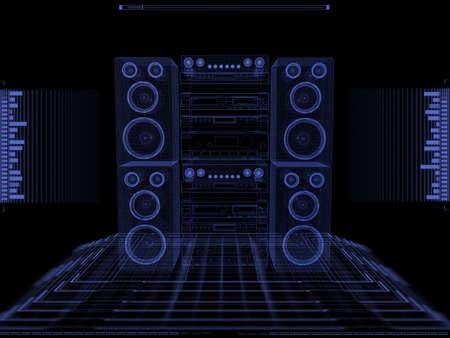 Sound system against black background