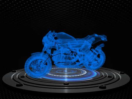 cybernetic: Sport motorbike on a cybernetic platform against pattern background