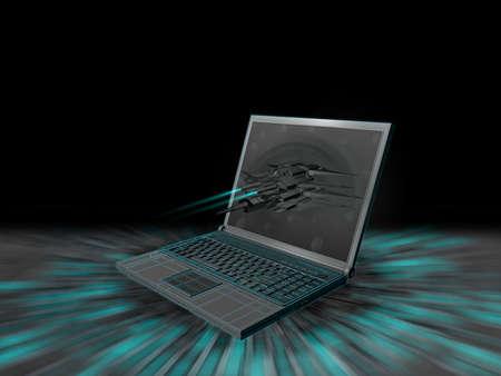 黒の背景にノート パソコンの概念 写真素材 - 68799542