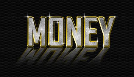 golden money letters Stock Photo