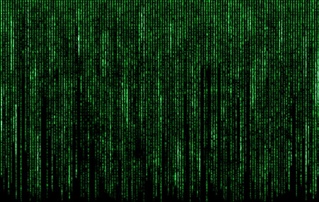 binary matrix: Green digital  code numbers in matrix style Stock Photo