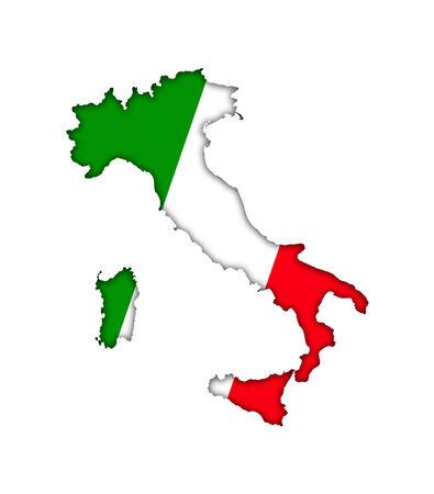 Italy map flag icon photo