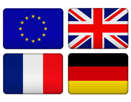 European Union, United Kingdom, France and Germany flag banner Stock Photo