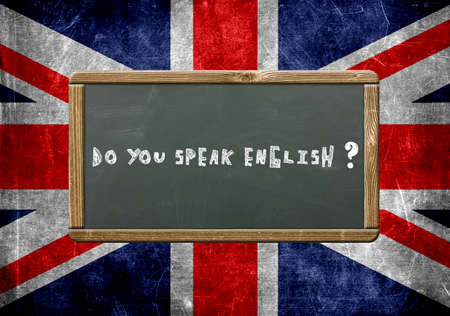 english text: Do you speak English text on blackboard