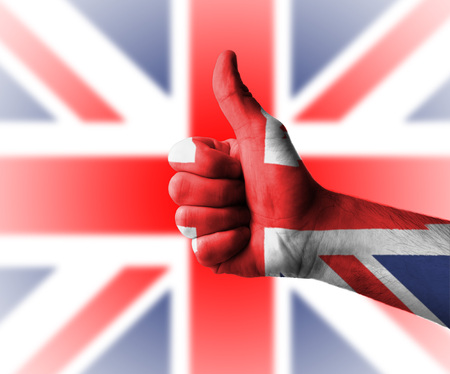 Hand with thumbs up for England, Great Britain photo