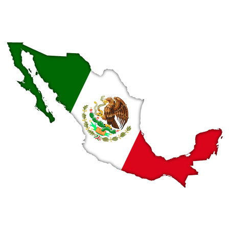 Mexico flag map icon 免版税图像 - 29301368