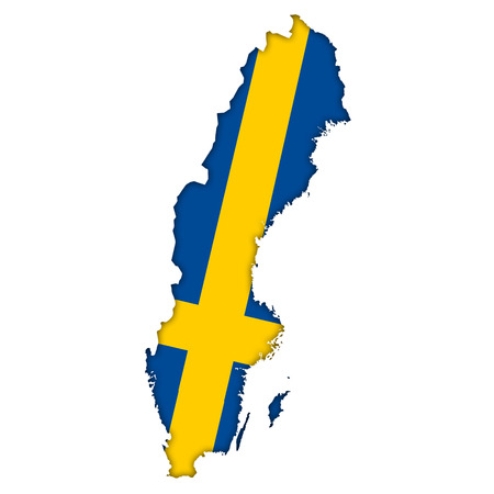 sweden flag: Sweden flag map icon Stock Photo