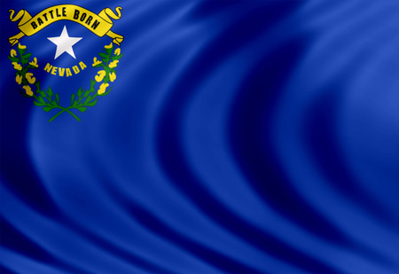 carson city: Nevada flag of silk Stock Photo
