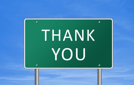power of thinking: Thank you - road sign concept Stock Photo