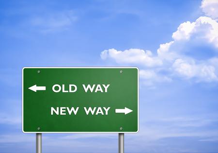 OLD WAY - NEW WAY - road sign concept 免版税图像 - 29171441