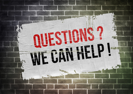 can we help: Questions? We can help! - poster concept Stock Photo