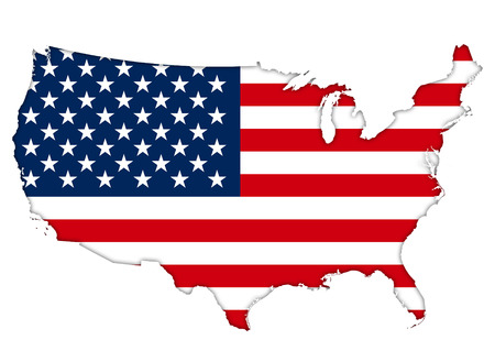 american states: American flag map