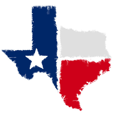 Grunge flag map of Texas Stock Photo