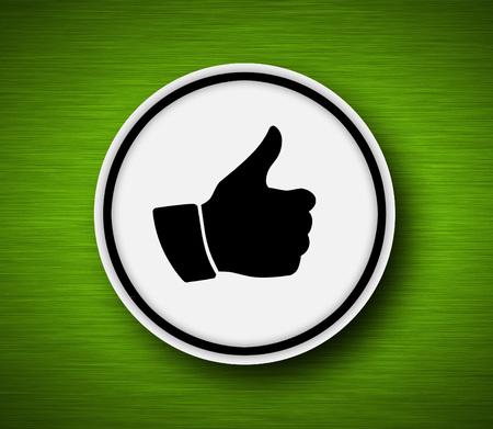 metalic background: Thumb up icon with metalic background Stock Photo