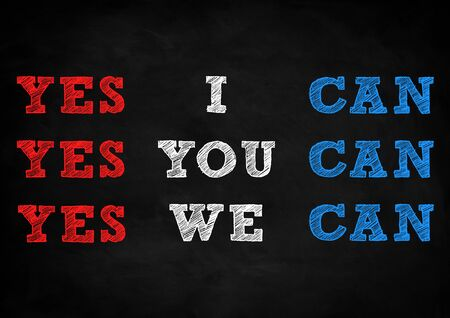 yes we can blackboard concept 写真素材