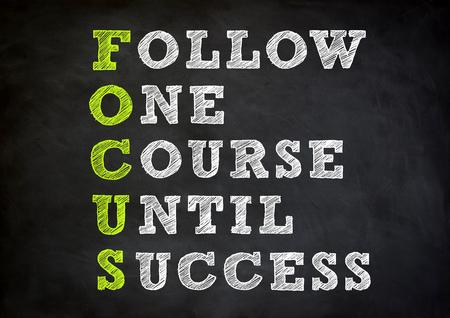 FOCUS acronym written concept