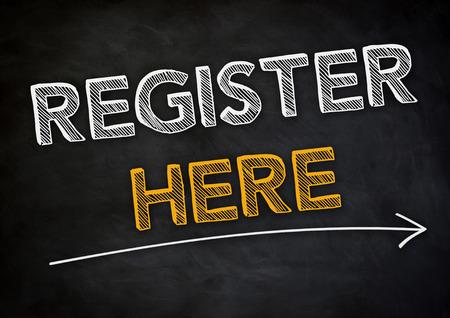 register: Register Here Stock Photo