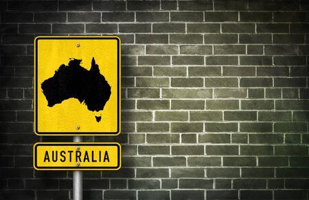 downunder: Australia - road sign with Australian map illustration