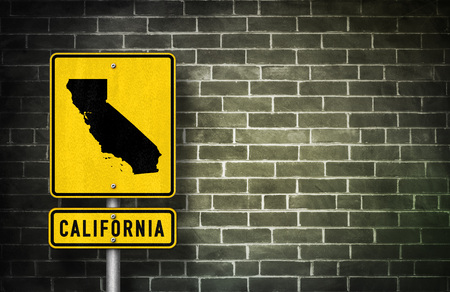 californian: California - road sign with Californian map illustration Stock Photo