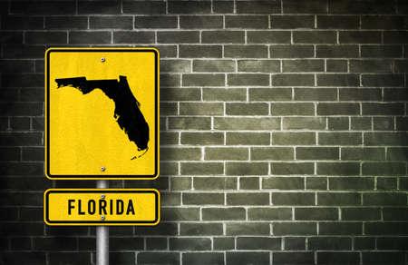 floridian: Florida - road sign with Floridian map illustration