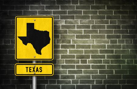 texan: Texas- road sign with Texan map illustration Stock Photo