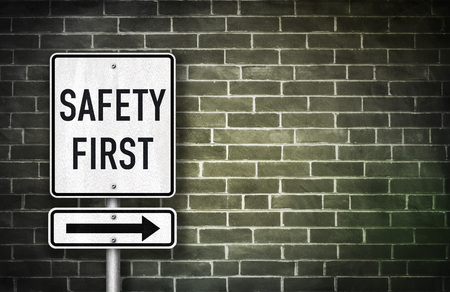 carefully: Safety First - road sign illustration Stock Photo
