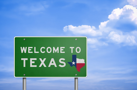 houston flag: Welcome to US State of Texas - road sign