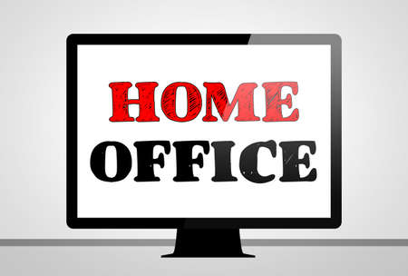 home office: Home Office - computer illustration concept Stock Photo