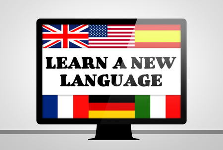 Learn a new language - computer illustration concept
