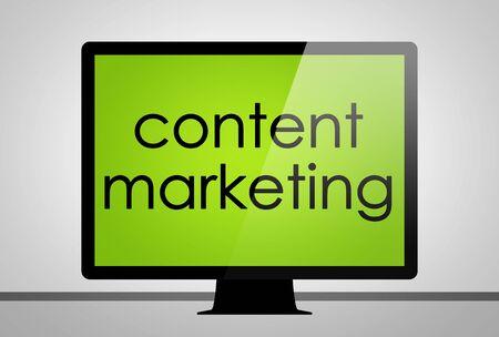 emarketing: content marketing - computer concept