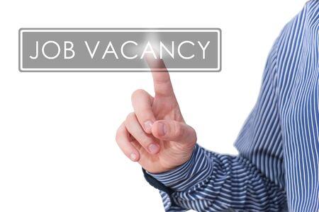 new recruit: Businessman pressing digital app icon - job vacancy