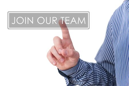 our: Businessman pressing digital app icon - join our team