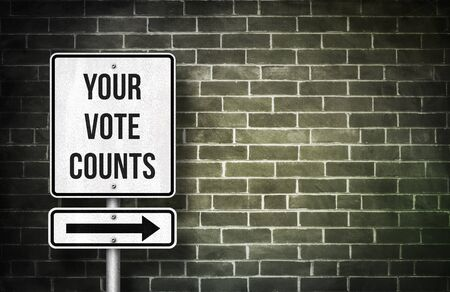 Uw stem telt verkeerstekenconcept Stockfoto