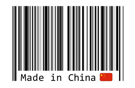 cipher: Made in China with barcode label Stock Photo