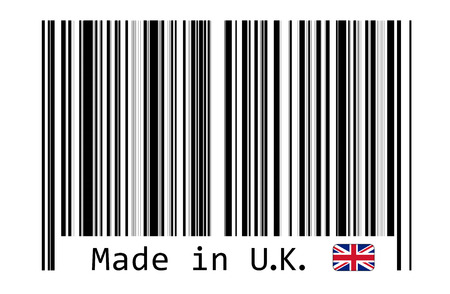 bar code reader: Made in UK with barcode label Stock Photo