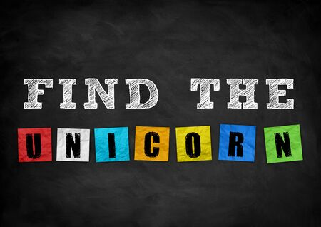 find: find the unicorn - chalkboard concept Stock Photo