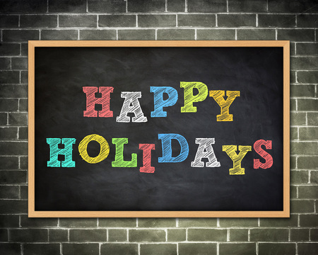 happy holidays: happy holidays - chalkboard illustration
