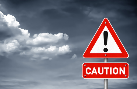 danger signs: Caution attention please road sign warning Stock Photo